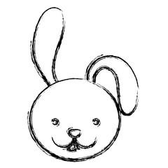 blurred silhouette caricature face rabbit animal vector illustration