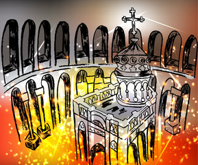 A stylized illustration of the Aedicule in the Church of the Holy Sepulcher. Holy fire. Vector design
