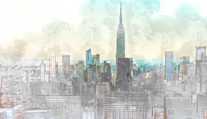 Sketch of the Manhattan skyline cityscape