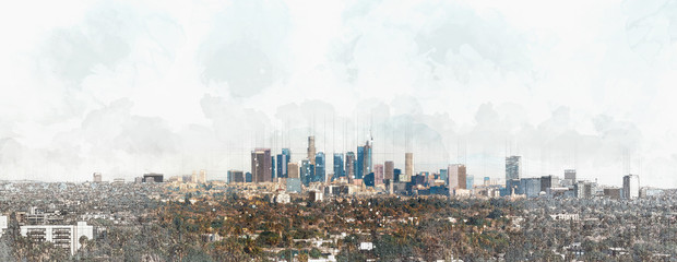 Panoramic view of Downtown Los Angeles Wall mural