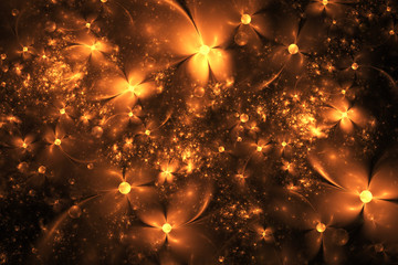 Abstract exotic golden flowers on black background. Fantasy fractal design. Psychedelic digital art. 3D rendering.