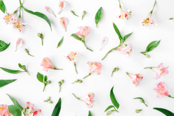 Floral pattern made of pink alstroemeria, leaves and petals