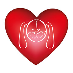 red heart shape with picture face cute dog animal vector illustration