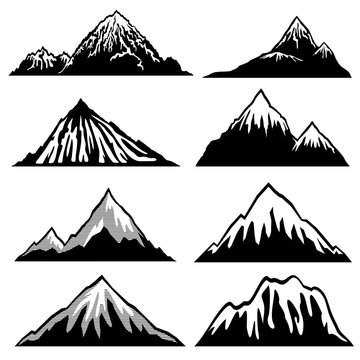 Highlands, mountains vector silhouettes with snow capped peaks and hillsides