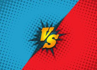 Versus fighting background concept in comic book style vector illustration. Superhero battle amazing cartoon backdrop