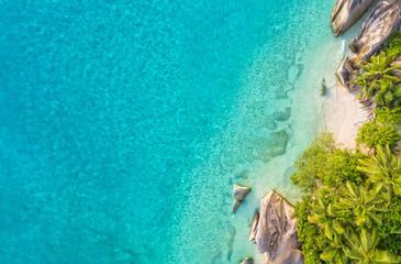 Aerial photo of tropical Seychelles beach at La Digue island
