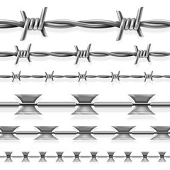 Safety steel barbed and razor wire vector seamless prison borders set