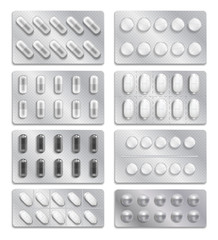 Realistic 3d drugs packaging, painkiller pills vector set
