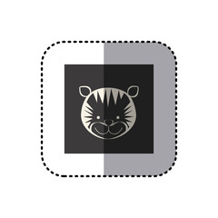 sticker of black background square with face of tiger vector illustration