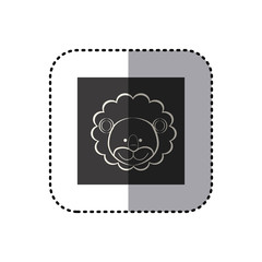 sticker of black background square with face of lion vector illustration
