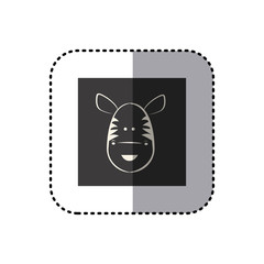 sticker of black background square with face of zebra vector illustration