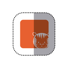 sticker of color background square with face of tiger vector illustration
