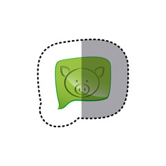 color sticker with pig face in square speech vector illustration