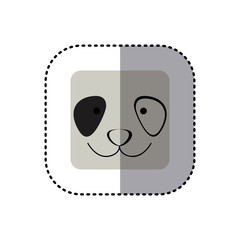 colorful face sticker of panda face in square frame vector illustration
