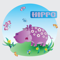 Fun pink Hippo. Zoo. A child's drawing. Pink Hippo. Cartoon characters. Design for pattern, textiles, children's books, the background image.