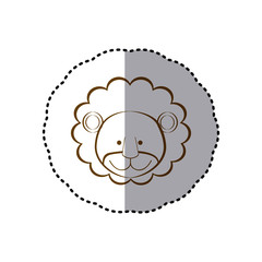 sticker with brown line contour of face of lion vector illustration