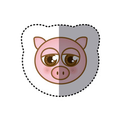 sticker colorful picture face of pig with big eyes vector illustration