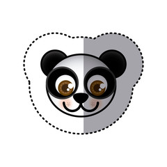 sticker colorful picture face of panda with big eyes vector illustration