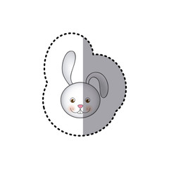 small sticker colorful picture face cute rabbit animal vector illustration