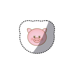 small sticker colorful picture face cute pig animal vector illustration