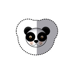 small sticker colorful picture face cute panda animal vector illustration