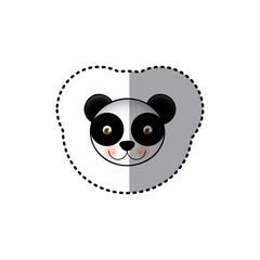 small sticker colorful picture face cute panda animal vector illustration
