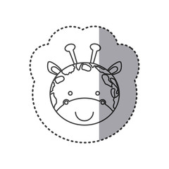 sticker of grayscale contour with face of giraffe vector illustration