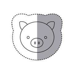 sticker of grayscale contour with face of pig vector illustration