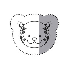 sticker of grayscale contour with face of tiger vector illustration