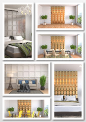 Collage of modern home interior. 3d illustration
