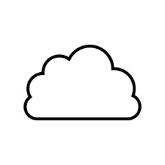 black line contour of cloud in shape of cumulus vector illustration