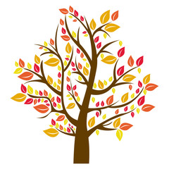 silhouette tree in fall season vector illustration