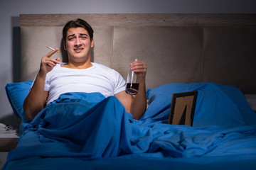 Desperate man divorced in bed