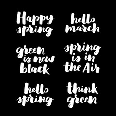 Hello spring lettering typography set. Calligraphy postcard or poster graphic design element. Hand written style card. Simple vector brush sign. seasonal quote collection. White on black