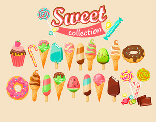 Sweet food icon collection.