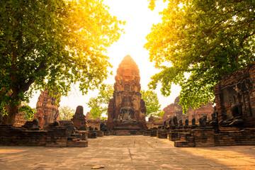 Traveling into Wat Maha That in Ayutthaya, Thailand.