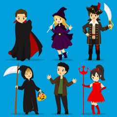 Halloween costumes vector set : dracula, witch, pirate captain, grim reaper, frankenstein, devil.