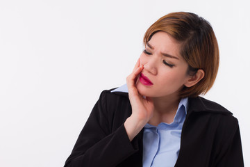 woman suffering from toothache, dental care concept
