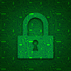 PADLOCK Icon on Circuit Board Background