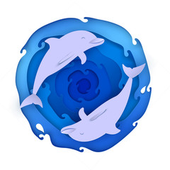 Two dolphins on paper blue sea
