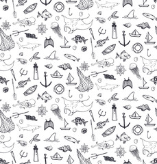 seamless pattern with fishing and sea elementsand animals