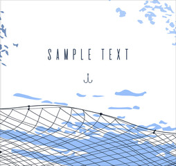 hand drawn template or border with fishnet. fishing and sea theme card or invitation on blot background. place fot text