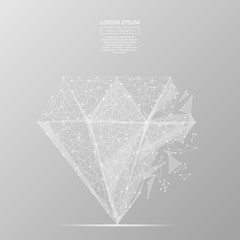 White abstract diamond polygonal, geometry triangle. Light connection structure of coin. Low poly vector on gray background. Connection structure