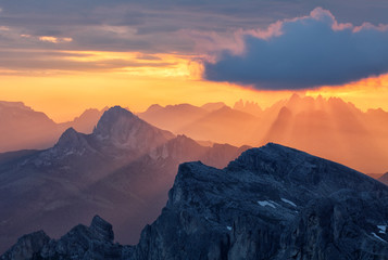 Wall Mural - Sunlight over mountain with sun rays