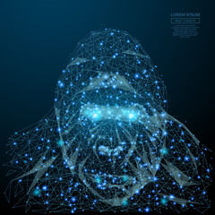 Abstract image of a gorilla head in the form of a starry sky or space, consisting of points, lines, and shapes in the form of planets, stars and the universe. Vector business wireframe concept