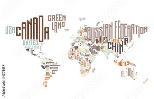 World map made of typographic country names Stock image and