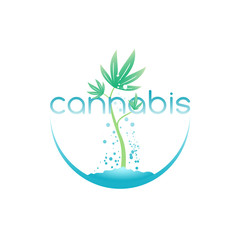 Cannabis emblem, vector illustration