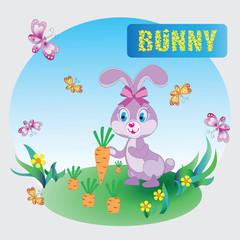 Funny pink Bunny. Zoo. A child's drawing. The cartoon characters. Design for sample, emblems, children's books, the background image.