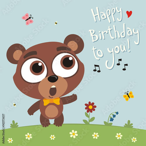 Happy birthday to you! Funny teddy bear sings birthday song