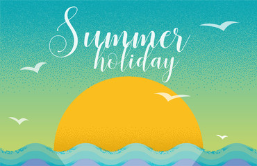 Summer holiday card design in retro style with sunset and sea